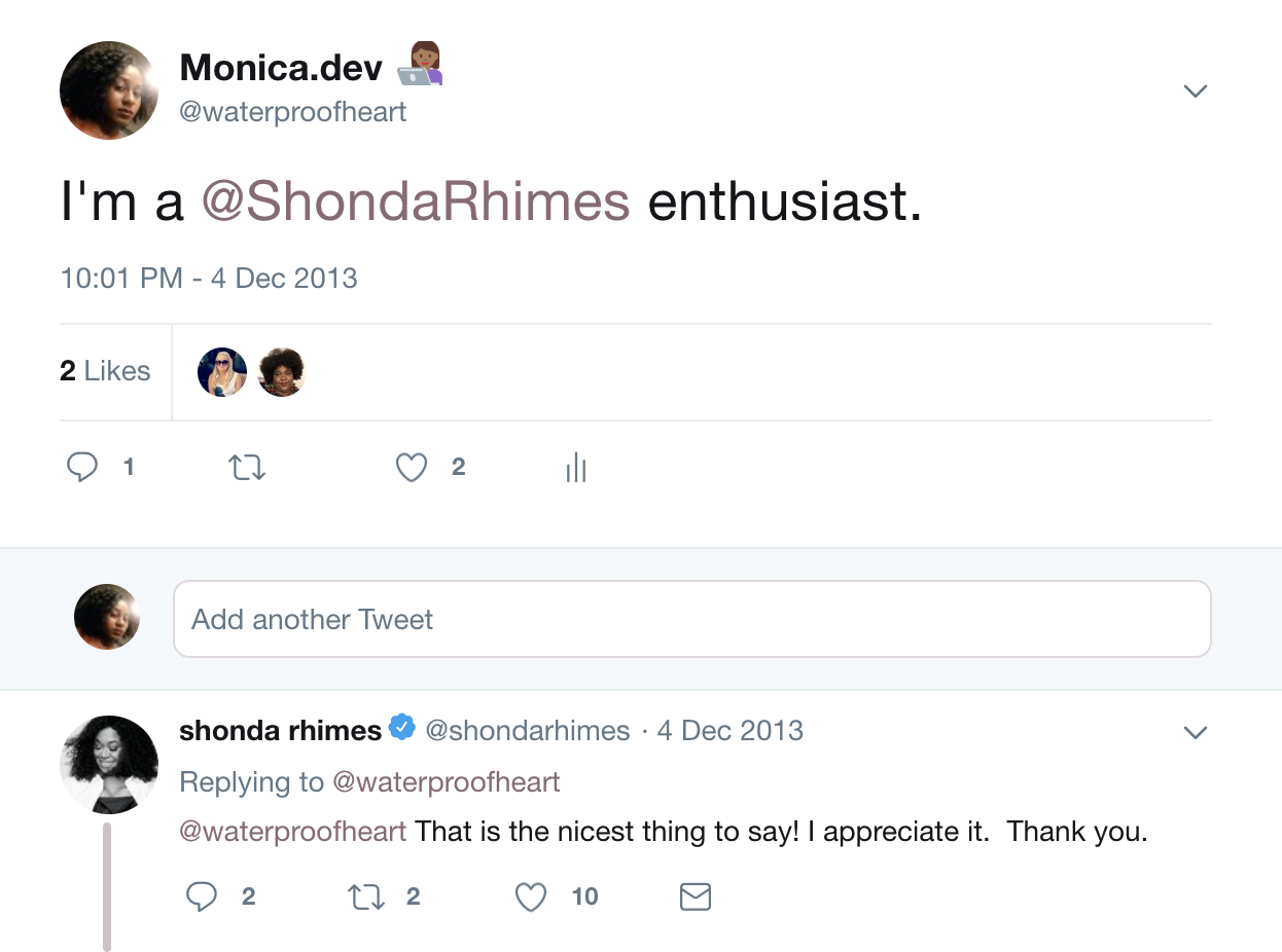 This tweet thread about being a Shonda Rhimes enthusiast https://twitter.com/waterproofheart/status/408430997517393920