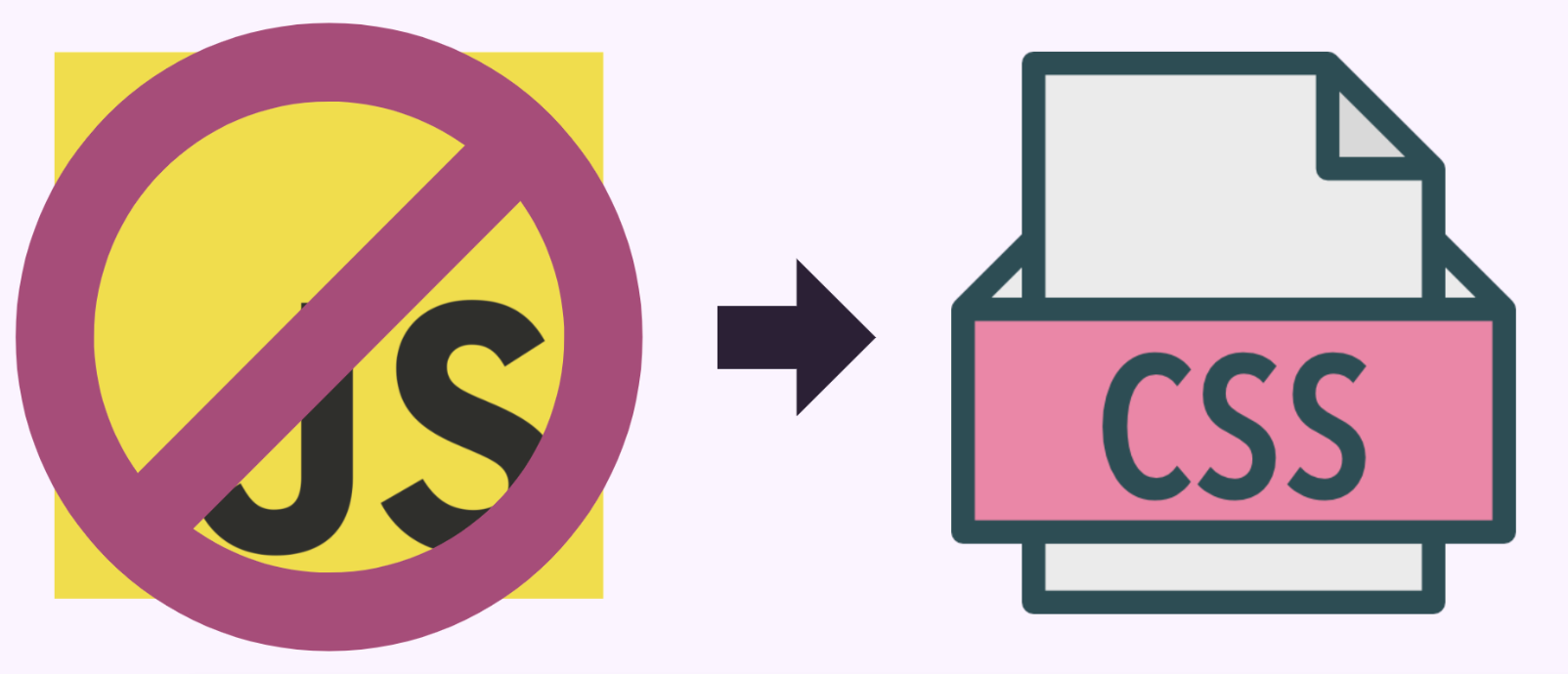 crossed out JavaScript icon transitioning to CSS